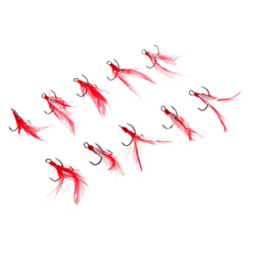 Baosity 10pcs Durable Stainless Steel Dressed Treble Hooks with Artificial Feather - -
