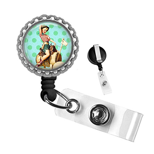 Vintage Pinup Cowgirl on Barrel Horse Silver Retractable ID Tag Badge Reel by Geek Badges