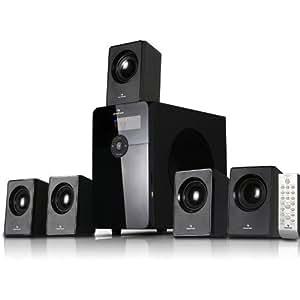 "auna HF583 • Sistema sonido envolvente 5.1 • Home Cinema • Surround • 70 W RMS • Subwoofer emisión lateral 4"" • Bass Reflex • 5 altavoces satélite • MP3 • Tarjeta SD • Apagado automático • FM • Negro"