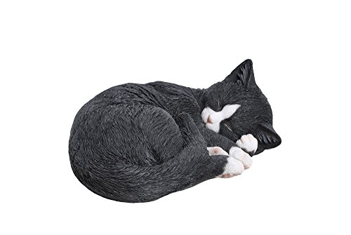Hi-Line Gift Ltd Lying Cat Sleeping Statue, Black/White (Statues Black Cat)