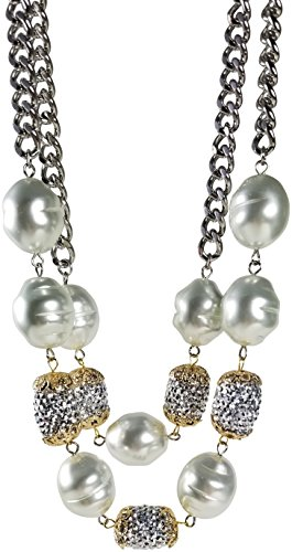 HamptonGems KENNETH JAY LANE-2 ROW PEARL & PAVE CRYSTAL STATION NECKLACE-SILVER CHAIN-LAST ()