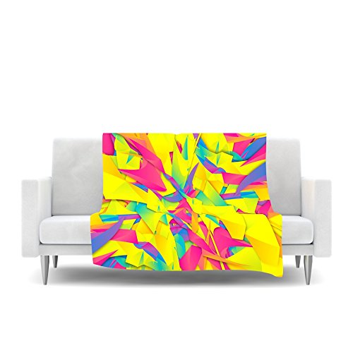 Kess InHouse Danny Ivan Bubble Gum Explosion Pink Yellow Fleece Throw Blanket, 60 by 50'