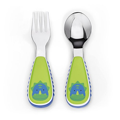 Skip Hop Toddler Utensils, Fork and Spoon Set, Dinosaur