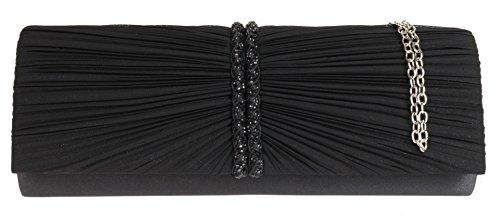 Girly HandBags New Satin Pleated Clutch Bag Woven Diamante Womens Elegant Evening Bag Black