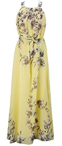 Chinmoon Women's Plus Size Casual Dresses Sleeveless Summer Chiffon Maxi Dress,US Large/Asian XL,Yellow by Chinmoon