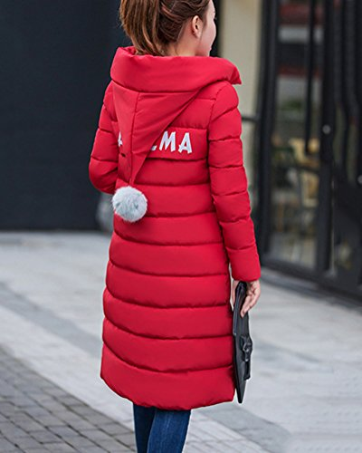 Parka Manga Chaqueta De Mujer Abrigo De Larga Rojo Con Acolchado Invierno Cremallera Largo PBWzqf