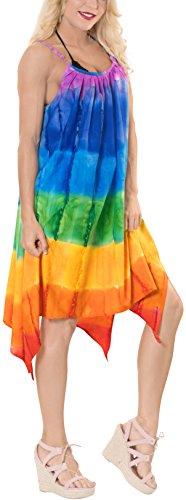 LA LEELA Fabric Tie Dye Loose Top Cover Up OSFM 14-16 [L-1X] Multicolor_2454