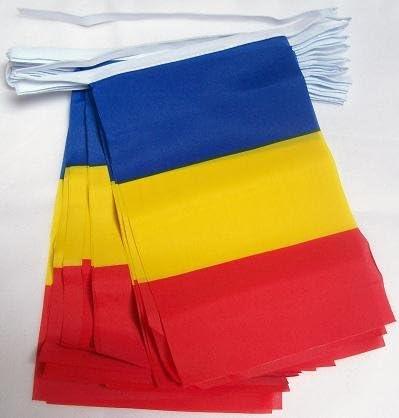 AZ FLAG Guirnalda 6 Metros 20 Banderas de Rumania 21x15cm - Bandera RUMANA 15 x 21 cm - BANDERINES: Amazon.es: Jardín