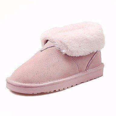 Botas de mujer invierno Mary Jane PU Casual tacón de cuña hacia abajo Blushing Pink