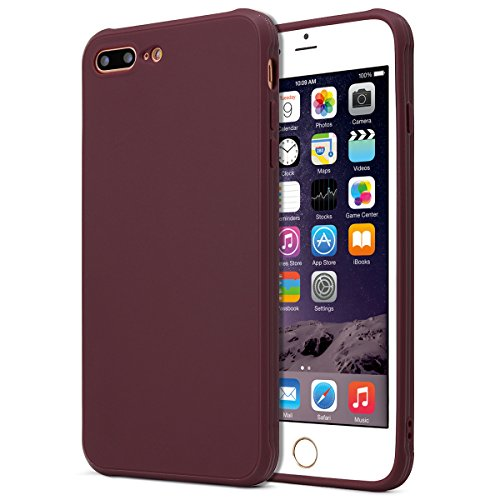 (MUNDULEA Matte Compatible iPhone 7 Plus/iPhone 8 Plus case,Shockproof TPU Protective Cover Compatible iPhone 7 Plus/8 Plus 5.5 inch (Wine red))