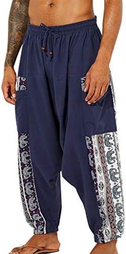 メンズ軽量ルーズパンツカジュアルヴィンテージスタイルルーズソフトコットンリネン印刷パッチワークランタンヨガパンツ (Blue, XXL)