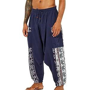 Pantalones Anchos de Hombre de algodón y Lino, Pantalones con ...
