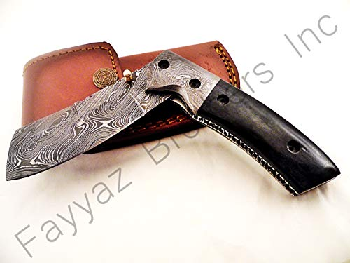 Bolster Double Folder (FAYYAZ BROTHERS Handmade Damascus Steel Pocket Folding Knife/Pocket Knife AA-15200 (Dark Grey Colored Bone))