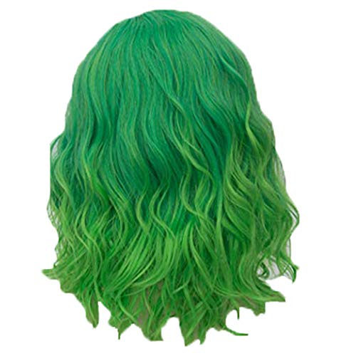 Jaromepower 14'' Short Green Wigs for Women Green Curly Wavy Cosplay Costume Wigs Green Ombre Wig Rose Inner Net Wigs for Black Women Mardi Gras Costumes Halloween Party Wig