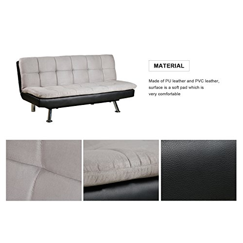 Merax Futon Sofa Bed with Plating Legs, PU and PVC (Black and light grey)