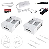 DJI PHANTOM 4 BATTERY PRO BUNDLE, 2 PHANTOM 4 BATTERIES, PHANTOM 4 CHARGER WITH CABLE, PHANTOM 4 PROPELLER GUARDS, CAMRISE USB READER, CAMRISE LANYARD AND 32GB MICROSD CARD