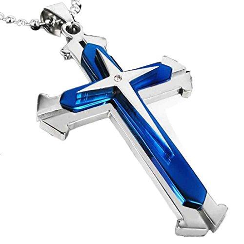 Malltop Unisex Elegant Stainless Steel Cross Necklace Chain Pendant For Men and Women