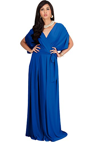 KOH KOH Womens Long Formal Short Sleeve Cocktail Flowy V-Neck Casual Bridesmaid Wedding Party Guest Evening Cute Maternity Work Gown Gowns Maxi Dress Dresses, Cobalt/Royal Blue L 12-14 Bridal Shower Outfit