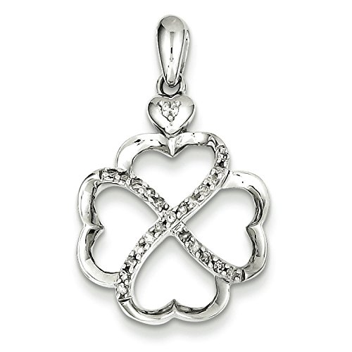 Argent Sterling diamant pendentif 4 cœurs-JewelryWeb bruts