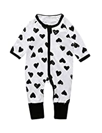 LOOLY Unisex Baby Girl Boys One Piece Zipper Jumpsuit Snug Fit Cotton Footless Pajamas