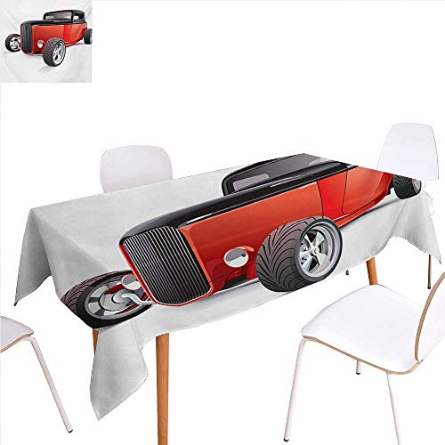 familytaste Cars Washable Tablecloth Nostalgia Red Hot Rod American Culture Retro Revival Classics Collectors Car Waterproof Tablecloths 60