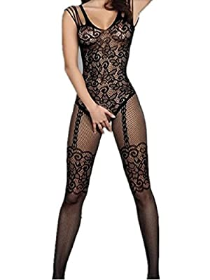 Amstt Womens Sexy Lace Fishnet Floral Open Crotch Mesh Lingerie Bodystockings Bodysuits