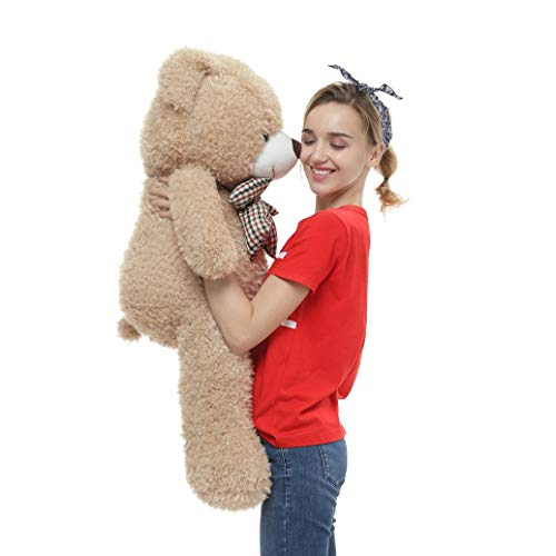 (DOLDOA Big Teddy Bear Stuffed Animals Plush Toy for Girlfriend Children (39 inch, Tan))