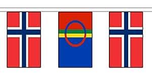 Noruega y escandinava Sami People material cadena banderas/Banderines de 10m (33') larga con 28banderas