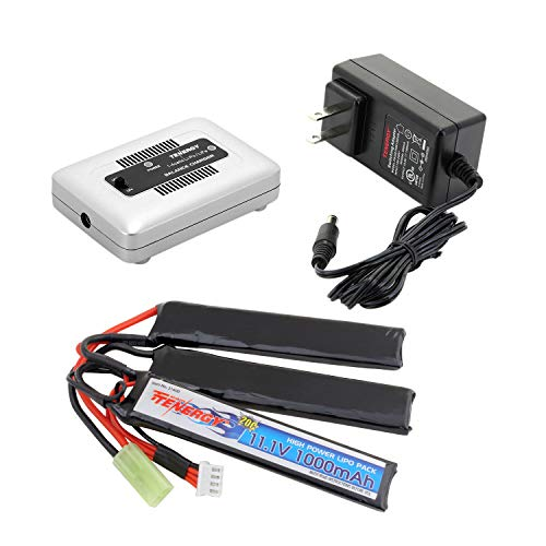 Tenergy Airsoft Battery 11.1V 1000mAh 20C High Discharge Rate LiPo Battery Pack Split Type Crane Stock Battery Pack with Mini Tamiya Connecotor + 1-4 Cells LiPo/Life Balance Charger for Airsoft Guns