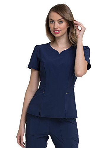 HeartSoul Love Always by Women's V-Neck Solid Scrub Top Small Navy by HeartSoul (Image #1)'