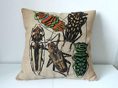(Dozili Cotton Linen Square Decorative Throw Pillow Case Cushion Cover Long-Horned Beetles Longicorn 18)