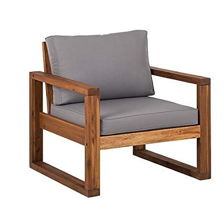 Amazon.com: Sillón de patio con cojín de madera con ...