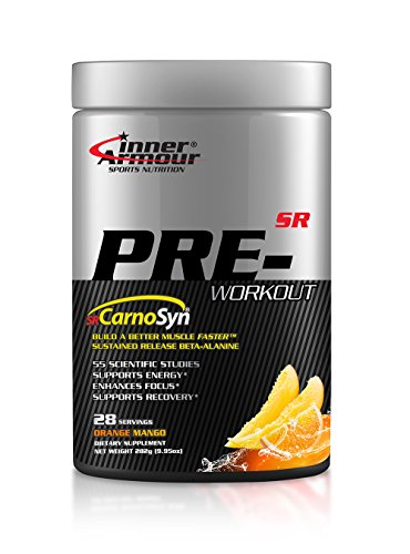 Inner Armour Pre-Workout with SR CarnoSyn® Orange Mango | Focus Supplement | Better Muscle Faster & Muscle Recovery Support | Preworkout for Men & Women - 28 Servings