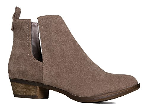 Faux Suede Almond Toe-Side Cut Out Stitch Accents-Western Low Chunky Heel Bootie 8.5