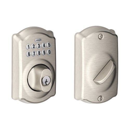 Front Access Door (Schlage BE365VCAM619 Camelot Keypad Deadbolt, Satin Nickel)