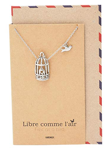 - Quan Jewelry Gifts for Women Bird Cage with Key and Bird Charms Necklace, Necklaces for Women with Inspirational Greeting Card