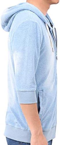 パーカー ジップアップ 六分袖 インディゴ パイル 192M1320