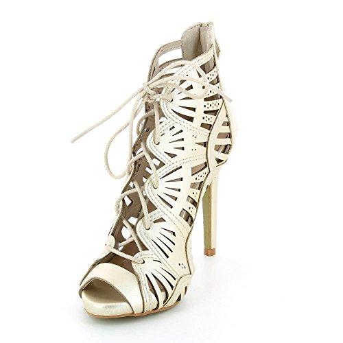 Go Moda - Sandalias de Tacón agujeros de corte con encaje - tacón 11 cm - Mujer Dorado - Doré