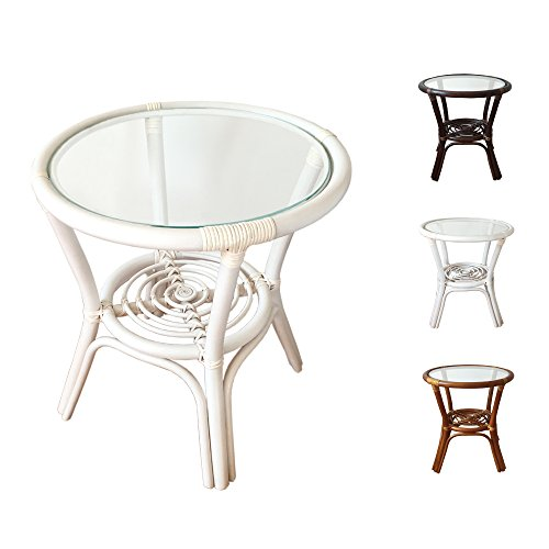 Rattan Round Coffee End Table model Diana with Glass Top 7Colors 2Size (19