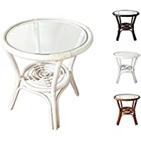 Rattan Round Coffee End Table model Diana with Glass Top 7Colors 2Size (19Diameter, White Wash)