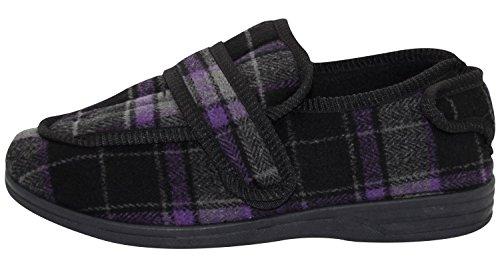 Top Buxton Tree Low Friendly Mens Slippers Purple Grey Black Shoe Diabetic twqpPt