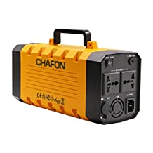 Chafon Cf-UPS008 On-line Backup Uninterruptible Power Supply,12V 26AH 288WH Lightweight Lithium Battery Smart UPS with Peak 500W+ Portable Power Bank External Battery,4 USB Ports Output,2 110V AC Plug with Led Light,Support 12V Solar Charger -Yellow