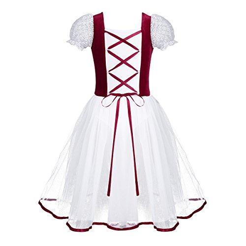 dPois Kids Girls' Velvet Lacework Short Bubble Sleeves Dance Dress Gymnastics Leotard Vintage Mesh Tutu Dresses Burgundy 10-12