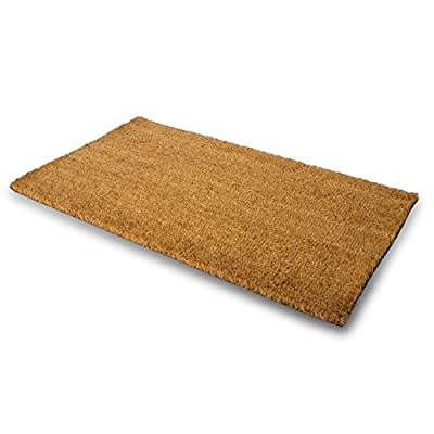 "MPLUS Pure Coco Coir Doormat with Heavy-Duty PVC Backing - Perfect color/sizing for outdoor/indoor uses. Pile Height: 15mm - Size: 18""-Inches x 30""-Inches"