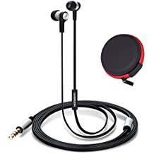 Honsenn In-Ear Earbuds with Mic, Tangle-Free Wired Earphones for iPhone, iPad, iPod, Samsung Galaxy, Android Smartphones, Tablets, Computers (Metal-black)