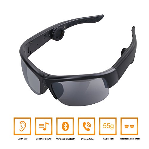 Bone Conduction Headphones, Tayinplus Bone Conduction Sunglasses Bluetooth Wireless Headphones Smart Sunglasses Built in Bone Conduction Speakers Handsfree Headset for iPhone iPad - Change Lenses Sunglass