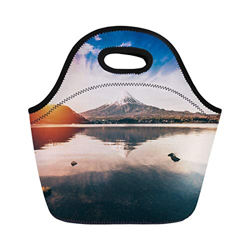 Semtomn Lunch Tote Bag Blue Mt Fuji in Kawaguchiko Lake of Japan Mount Reusable Neoprene Insulated Thermal Outdoor Picnic Lunchbox for Men Women