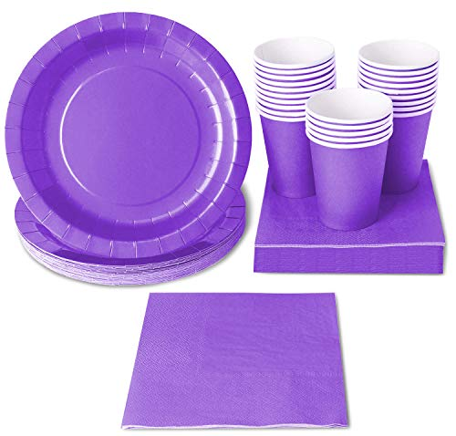 Purple Party Supplies - 24-Set Paper Tableware - Disposable Dinnerware set for 24 Guests, Including Paper Plates, Napkins and Cups, -