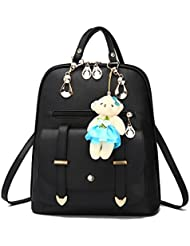 Women Backpack Leather Multi-Way Casual Girls School Backpack Sports Knapsack Cartoon Pendant by INSANY
