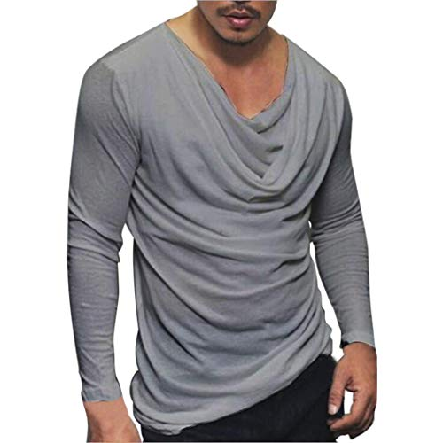 kaifongfu Men Tops,Fashion Solid Pullover Top Mens Sports Blouse T-Shirt(Gray,XXL)